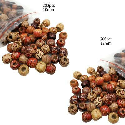 200Pcs Mixed Large Hole Wooden Beads for Macrame Jewelry Charms Crafts Making