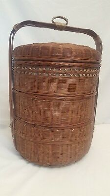 Vintage Chinese Asian 3-Tier Wedding Sewing Storage Basket Split Bamboo Willow