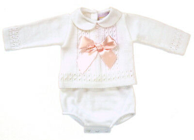 12d038f99 BABY GIRLS STUNNING Spanish Style Large Bow Pink Knitted Jumper ...