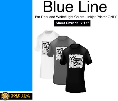 Blue Line Dark Iron On Heat Transfer Paper for Inkjet 11 x 17 - 15 Sheets
