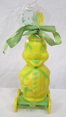 Vintage Plastic Yellow Anthro Duck on Wheels Candy Container with Contents 1950s