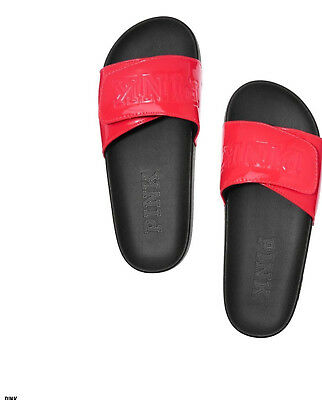 NWT Victoria's Secret PINK Crossover Comfort Slide Sandals Neon Candy Coral Red