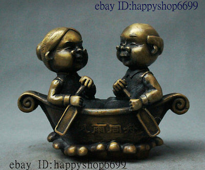 Old China Folk Copper Bronze Wealth Man And Wife Husband And Wife Spouse Statue