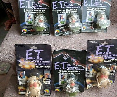 Vtg 1982 LJN E.T. LOT Of 6 Figures poseable n Spaceship wind pop up New NOS card