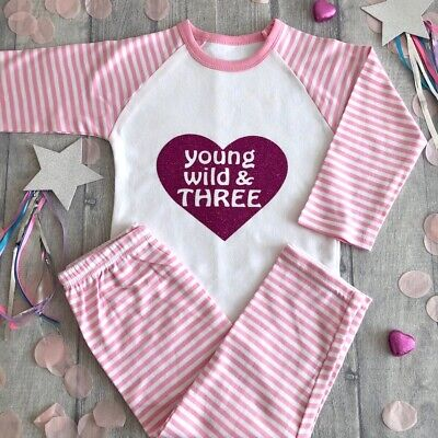 3RD BIRTHDAY PARTY PYJAMAS, Young Wild & Three Pink Glitter Heart Pink White PJs