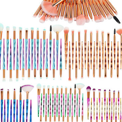 20PC Diamond Cosmetic Make Up Brushes Set Foundation Eyeshadow Eyeliner Powder