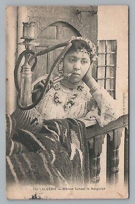 Mariam Smoking Hookah—Algeria Folk Life CPA Antique Tobacco Algerie—New Orleans