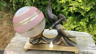 Table Lamp Mood Art Deco Bird Figure Stunning Marble Light Desk Retro Vintage *