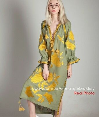 Olive tunic with gold embroidery, Bohemian custom Ethnic Folk dress March 11