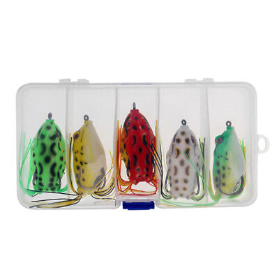 5pc Rubber Frog Lure Bait Soft Topwater Fishing Lures Crankbait Bass Tackle