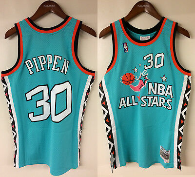 06ad042f9cd 1996 NBA All-Star Game Scottie Pippen #30 Mitchell & Ness Teal Authentic  Jersey