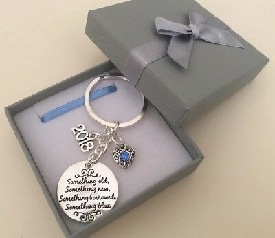 Bride To Be 2018 Something Old Something Blue Keyring Keepsake Gift In Gift Box