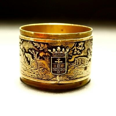 Antique Ypres Belgium Brass Repose Decorated Shooting Hunting Scene Napkin Ring