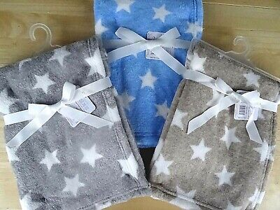Baby Boy Soft Grey Blue or Beige White Star Pattern Pram Wrap Blanket 100 x 75cm
