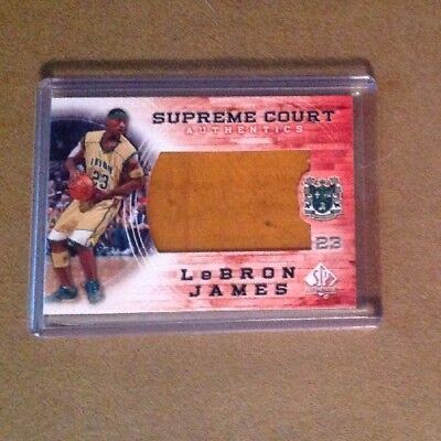 LeBron James 2013 SP Authentic Supreme Court Irish Cavaliers REAL PIECE OF FLOOR