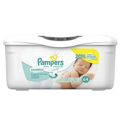 Pampers Sensitive Baby Wipes, White, Cotton, Unscented, 64 - FREE FAST SHIPPING