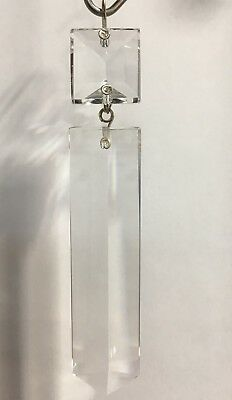 """SET OF 4 -Crystal Colonial w/ Square PRISM CHANDELIER LAMP PART 4"""" CZECH CRYSTAL"""