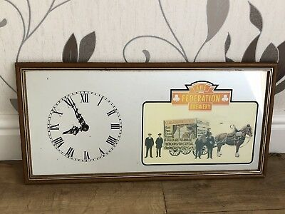 Vintage THE FEDERATION BREWERY Pub/Brewery Clock Mirror/Picture - Man Cave