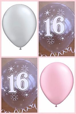 Girls Silver Pink Clear Printed 16th BIRTHDAY BALLOONS Party Decorations Helium