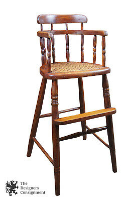 Antique Primitive Oak Windsor High Chair Cained Seat Youth Child Doll Comb Back