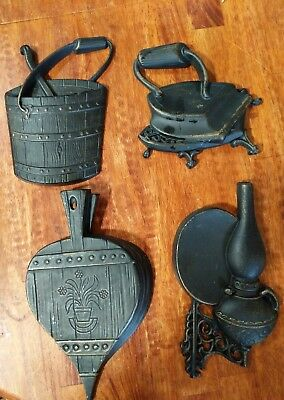 4 VINTAGE DIE CAST METAL WALL DECORATIONS by SEXTON Iron,Lamp, Bucket, Bellow