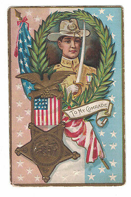 Late 1800s Early 1900s Decoration Day Postcard To My Comrade Army Veteran Emboss