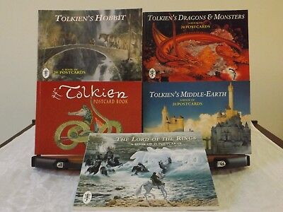 J.r.r. Tolkien - 5 Postcard Books - The Hobbit, The Lord Of The Rings, Middle-E