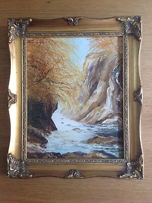 Beautiful Oil on Board Painting - Seascape - Trees - Cliffs - Framed