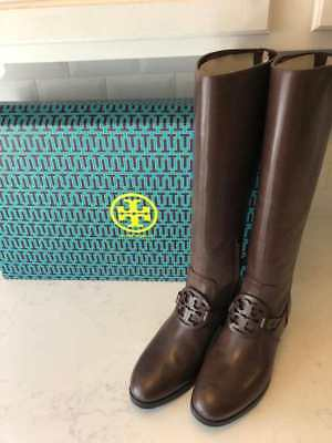 d9c66e7cd3a6f New With Box Tory Burch Tall Miller Pull On Leather Boots Burnt Chocolate  Sz 11