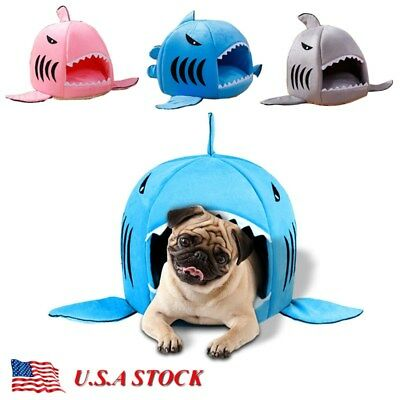 Cute Shark Pet Dog Nest Bed Puppy Soft Warm Cave House Kennel Cat Mat Cushion