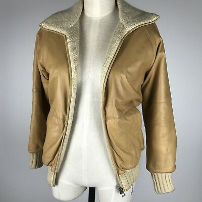 VTG Felfe Womens Leather Woven Reversible Italian Bomber Jacket Tan/ Beige SZ 8