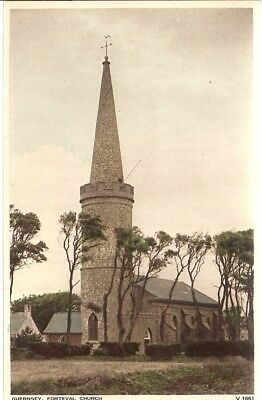 SUPERB SCARCE OLD POSTCARD - FORTEVAL CHURCH - GUERNSEY C.1939 by Photochrom Co.