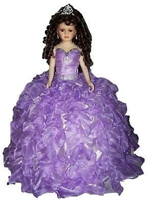"""26/"""" Body Doll Quinceanera Sweet 15 Porcelain Umbrella Doll 2Pc Lot Doll26BD  ^"""