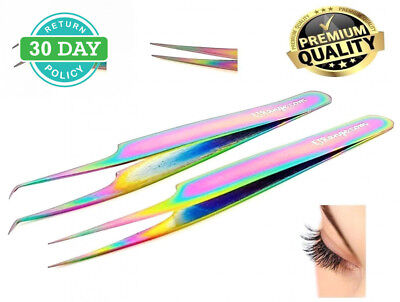 Tweezers Straight Curved for Individual Eyelash Extensions | Premium Rainbow...