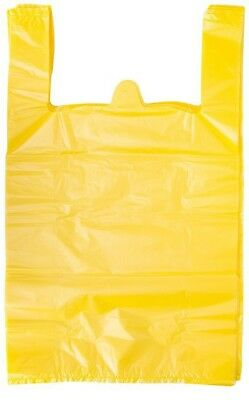 "Yellow Plastic T-Shirt Shopping Grocery Store Bags Handles Large 11.5""x6""x21"