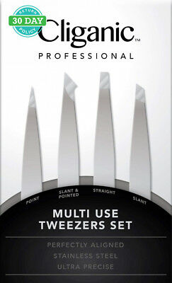 4-Piece Professional Tweezers Set with Case | Stainless Steel | Best...