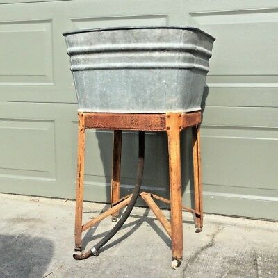 Antique Wash Tub w/ Stand - perfect for cooler - Vintage galvanized patina