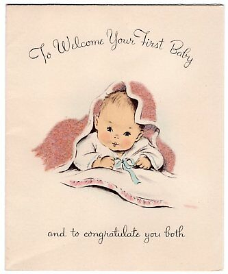 Norcross 1950's Fuzzy Flocked Blanket Welcome First Baby VTG Greeting Card