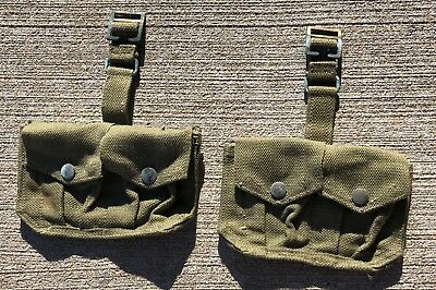 Two WWII British Pattern 37 Cartridge Ammo Pouches Web Gear