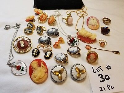 21 Vtg Cameo Jewelry Brooch Lot Ring Earrings Pendant chain Scarab  Resin Glass