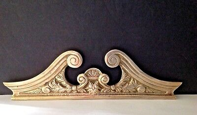 Vintage Solid Brass Ornate (3''H x 10-5/8W) Wall Decor Door Picture Art Topper
