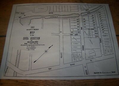 1913 Antique Earl Addition Herkimer Ny Map Hc Weller Civil Engineer