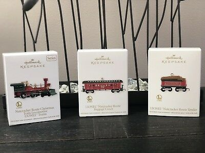 2012 Hallmark Lionel Nutcracker Route Christmas Train Set of 3 Loco Coach Tender
