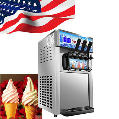 【USA Fast】Commercial Soft Serve Ice Cream Machine 3Flavor Frozen Yogurt Machine