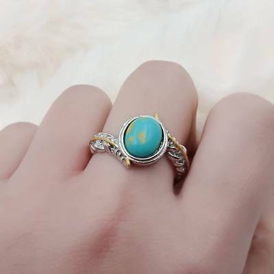 Gem Stone Filling Feather Design Ring Fashion Women's Ring Size 6-10