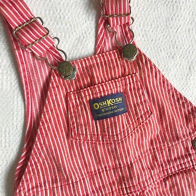 Vintage OshKosh Red Conductor Stripes Overalls 6/9 Months
