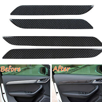 4pcs Carbon Fiber New Interior Door Panel Decor Frame Trim For Audi Q3 2013-2016