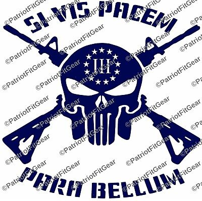 Punisher Skull,Skull,Si Vis Pacem Para Bellum,If You Want Peace3%,Vinyl Decal