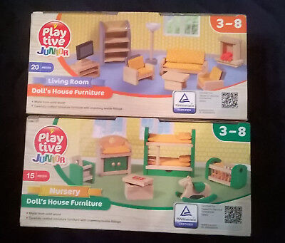 Wooden Furniture Dolls House Kitchen Bedroom Bathroom 37 Pieces Kids Wooden Toys