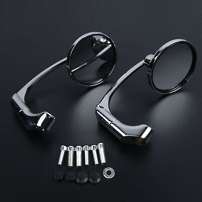 AU A Pair Chrome Round Bar End Rearview Side Mirror Adjustable For Cafe Racer